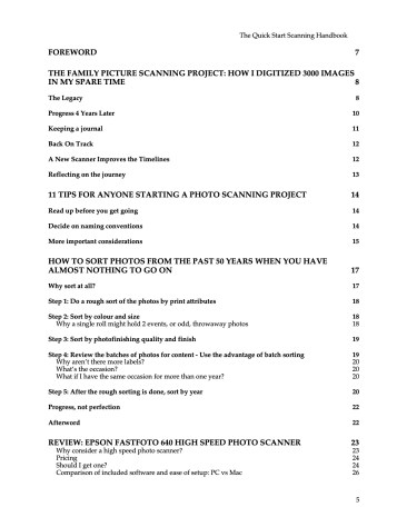 Table of contents for the Quick Scanning Handbook by Linda Yip
