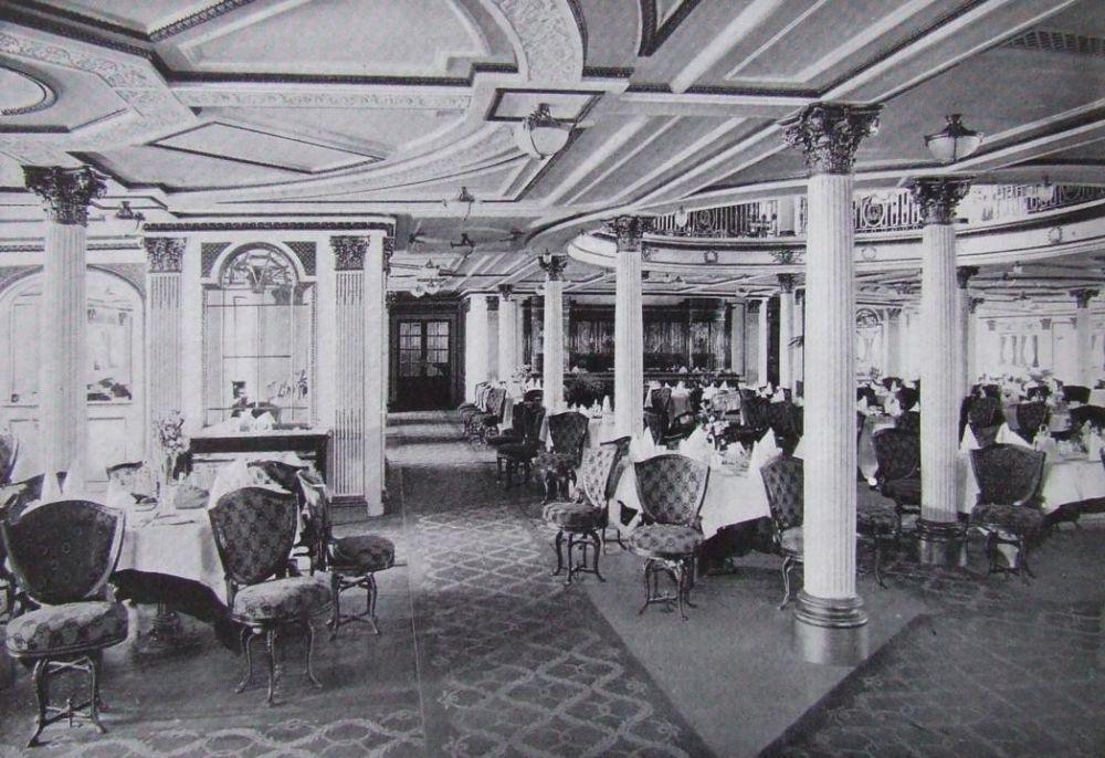 Sala da pranzo della prima classe del Lusitania