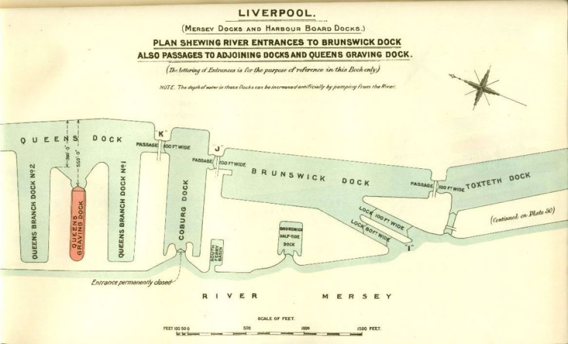 Vecchia mappa del porto di Liverpool