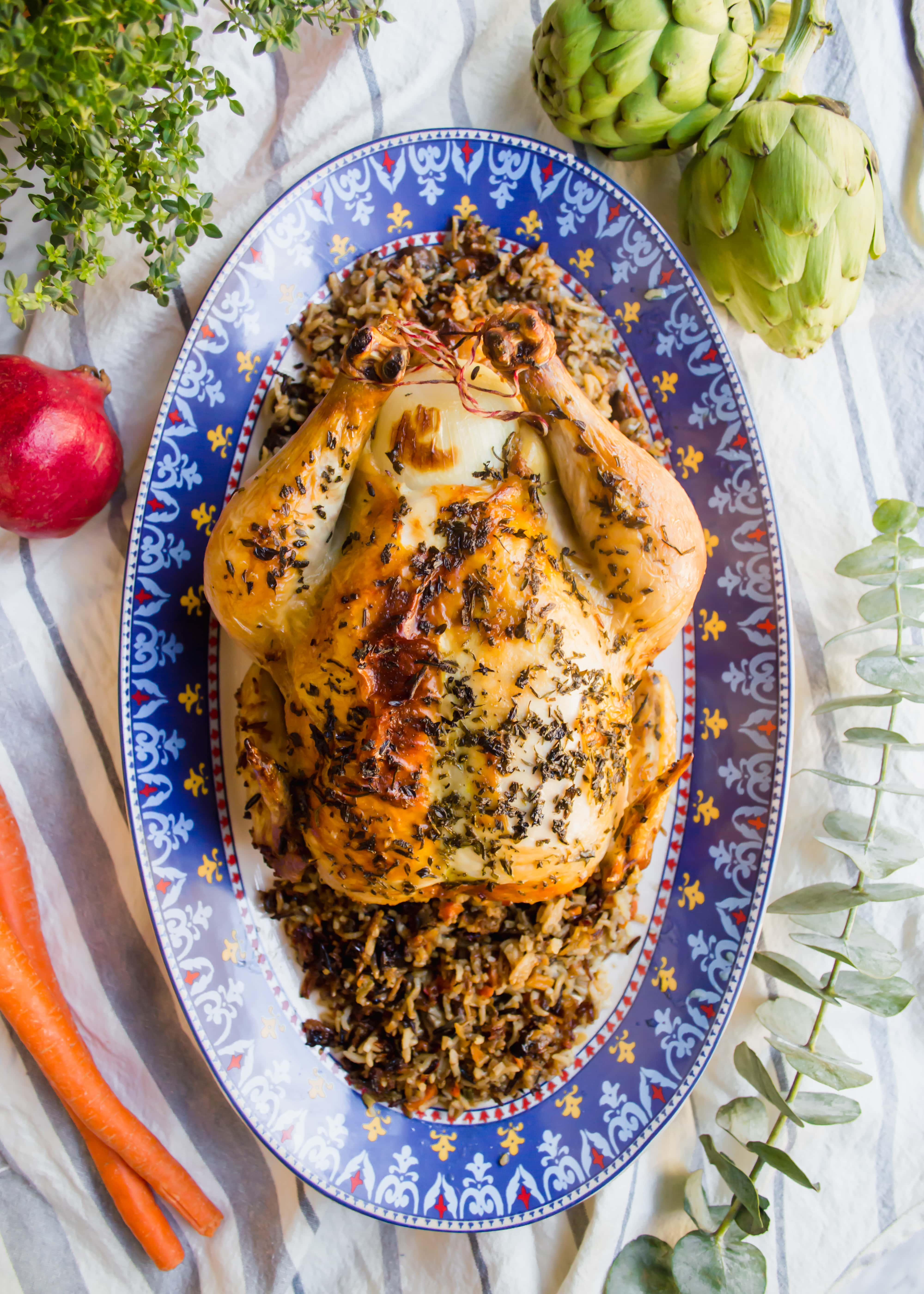Roasted Chicken Stuffed with Wild Rice