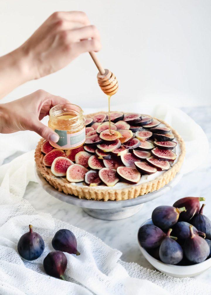 Honey glaze on top of mascarpone fig tart