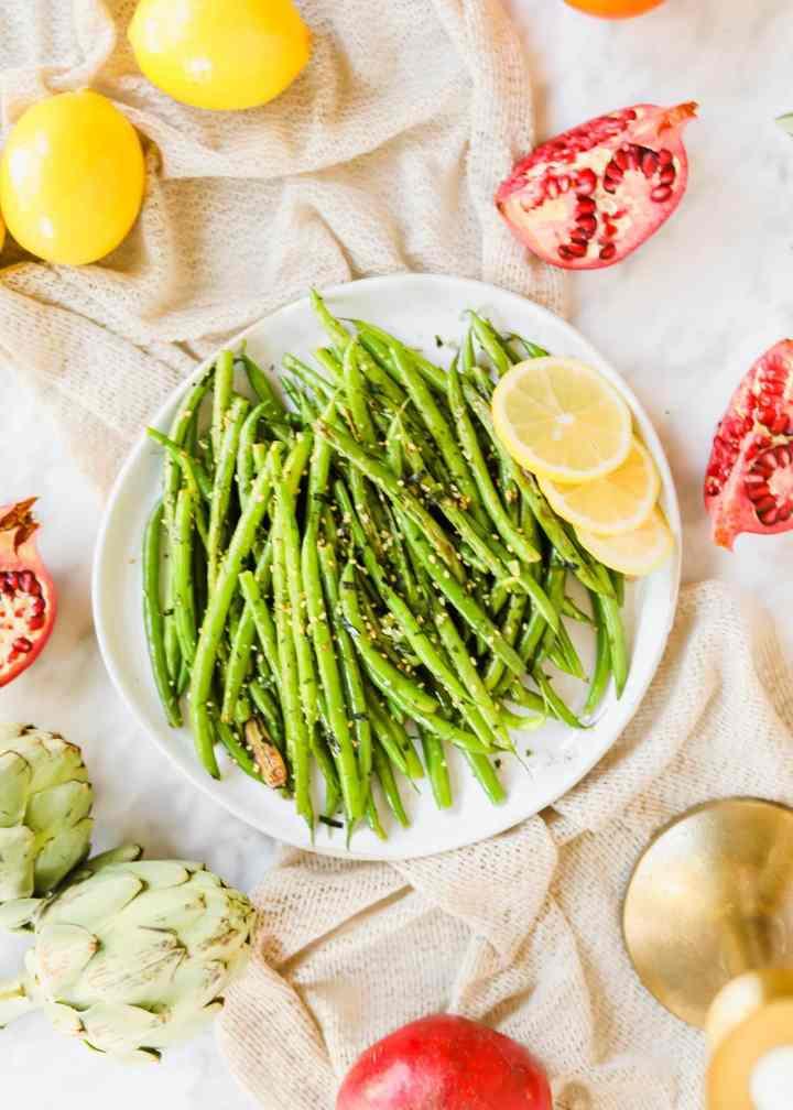 sautéed green beans with furikake California thanksgiving