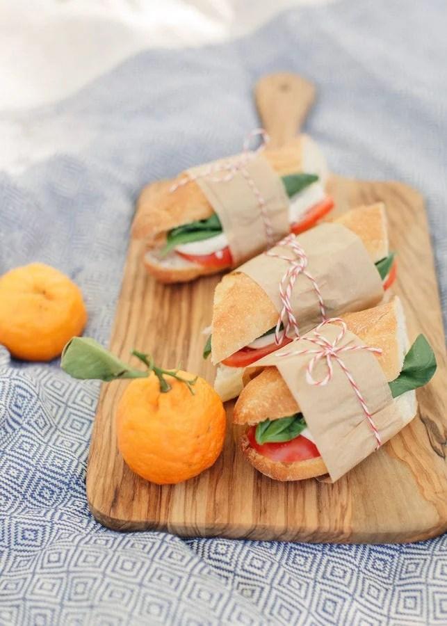 Caprese sandwich for picnics