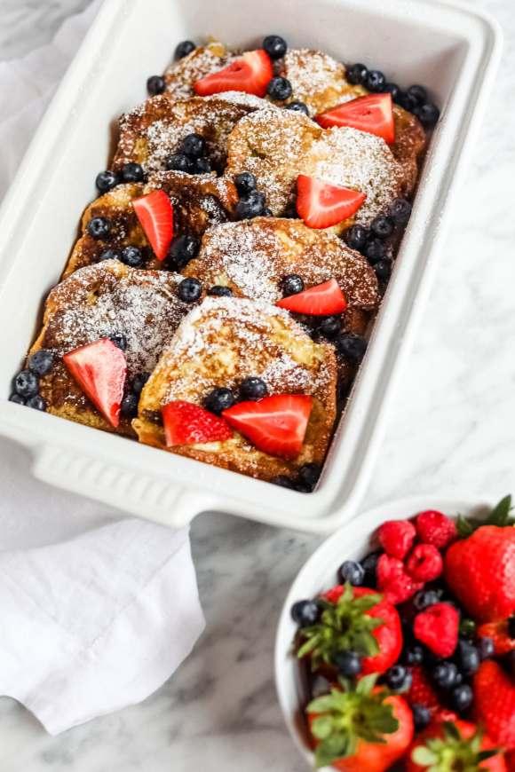 Brioche brunch in baker with berries