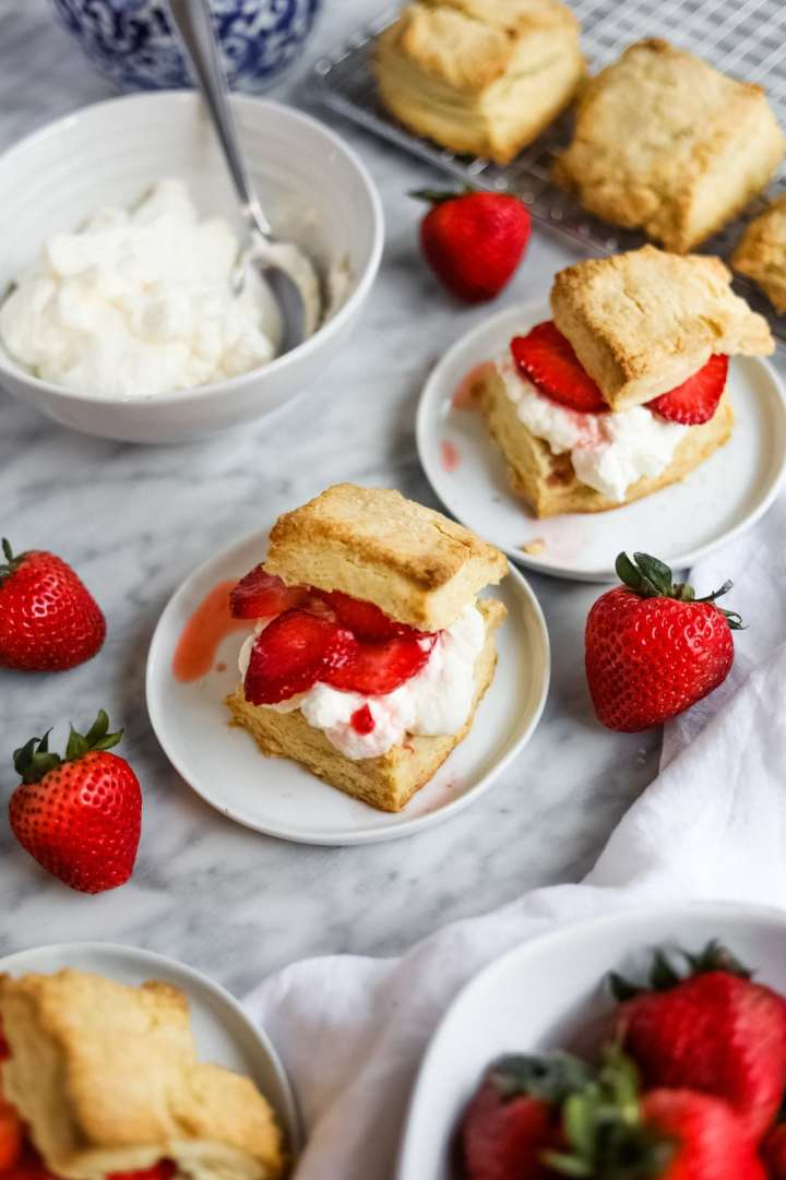 easy strawberry shortcake with whipped cream bowl