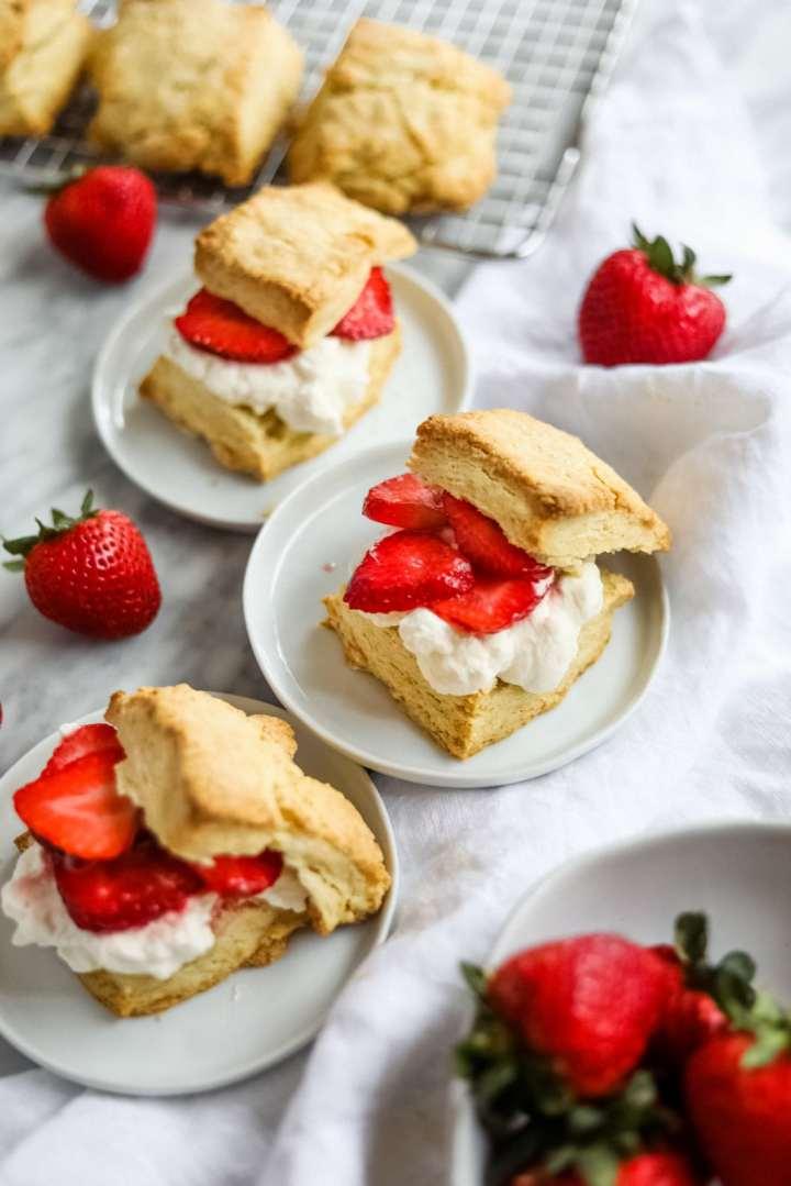 easy strawberry shortcake on white plates