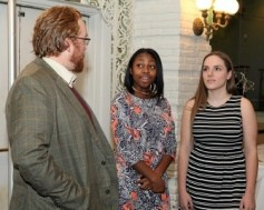 Wilkes-Barre NAACP Youth Council President Emily N. Laurore, center, of Shavertown, and Executive Committee Member Avery Conyngham, right, of Shavertown, chat with Wyoming Seminary teacher Nate Fisher, of Kingston, during the first annual Wilkes-Barre NAACP Youth Council luncheon at the Best Western Genetti Hotel & Conference Center in Wilkes-Barre. KRISTEN MULLEN / THE CITIZENS' VOICE cv05naacpp2