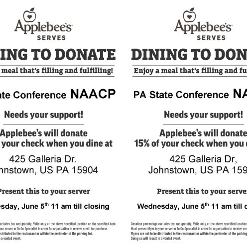 Dining to Donate Flyer Template johnstown