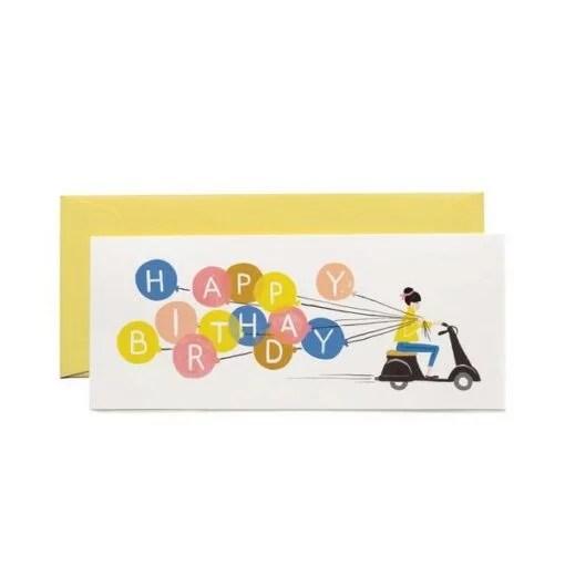Carte Anniversaire Scooter et ballons Rifle Paper Co