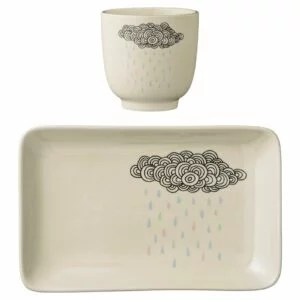 assiette rectangulaire et tasse Bloomingville nuages