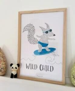 Cadre pour enfant Renard surfeur