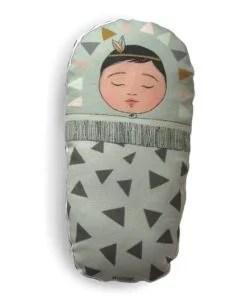 Coussin bébé Indien Gris/ Vert Minimel