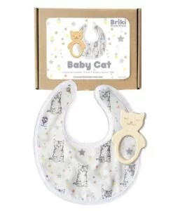 Coffret Bavoir + anneau dentition Baby Cat Briki Vroom Vroom