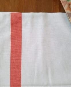 Torchon blanc bande corail