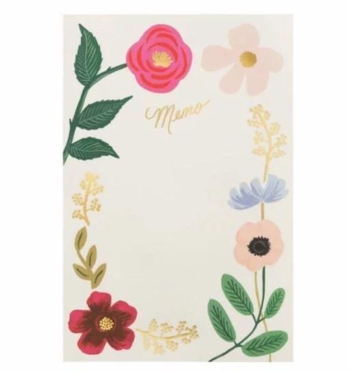 Bloc-notes mémo Rifle Paper Co Fleurs sauvages