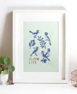 Affiche Slow Life Les Editions du Paon vert d'eau