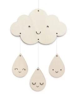 Mobile en bois nuage et gouttes ZÜ