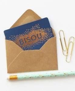 Mini carte Bisou confettis Bleu saphir Les Editions du Paon
