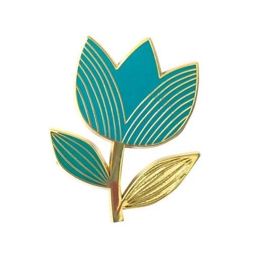 Pin's tulipe Mini Labo turquoise