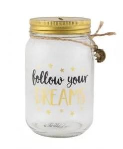 Tirelire pot en verre Sass and Belle Follow your dreams
