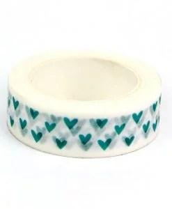 Masking tape Coeurs vert d'eau