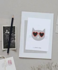 Carte chat Audrey Jeanne I love you