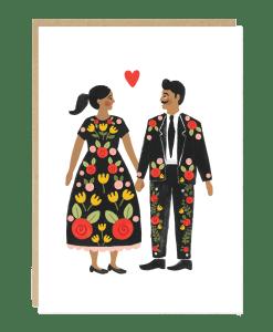 Carte couple Folk Jade Fisher