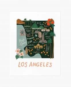 Affiche Los Angeles Rifle Paper Co Noir