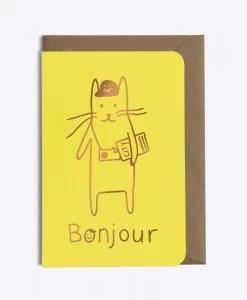 Carte Bonjour Tourist cat Les Editions du Paon