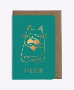 Carte Hello Cat in love Les Editions du Paon émeraude
