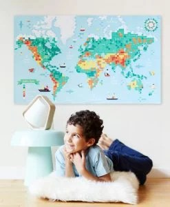 Sticker Poster – Carte du monde (6-12 ans)