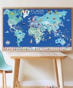 Poster géant + 200 stickers – Drapeaux du monde (6-12 ans)