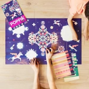 poster stickers licorne etoiles pixel art poppik