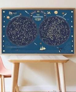 Poster carte du ciel + 640 stickers étoiles phosphorescentes (7 ans et +)