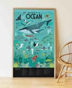 Poster géant + 59 stickers – Animaux des Océans (6-12 ans)