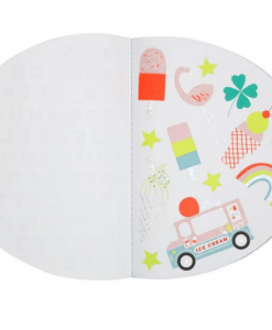 Cahier de dessin à stickers Arc-en-ciel Meri Meri