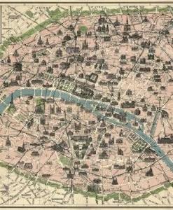 Carte de paris vintage (métro parisien et monuments) Cavallini