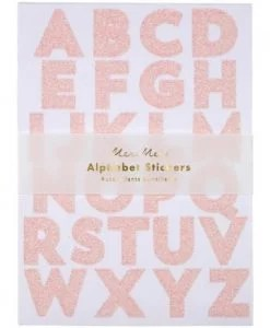 Stickers alphabet rose paillettes Meri Meri – Set de 260