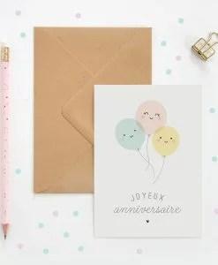 Carte double Joyeux anniversaire ballons ZÜ