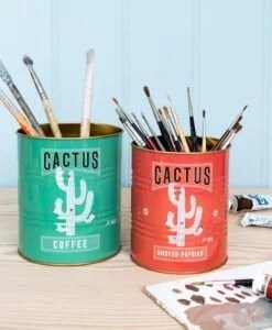 Set de 2 pots en métal – Boîtes de conserve Cactus
