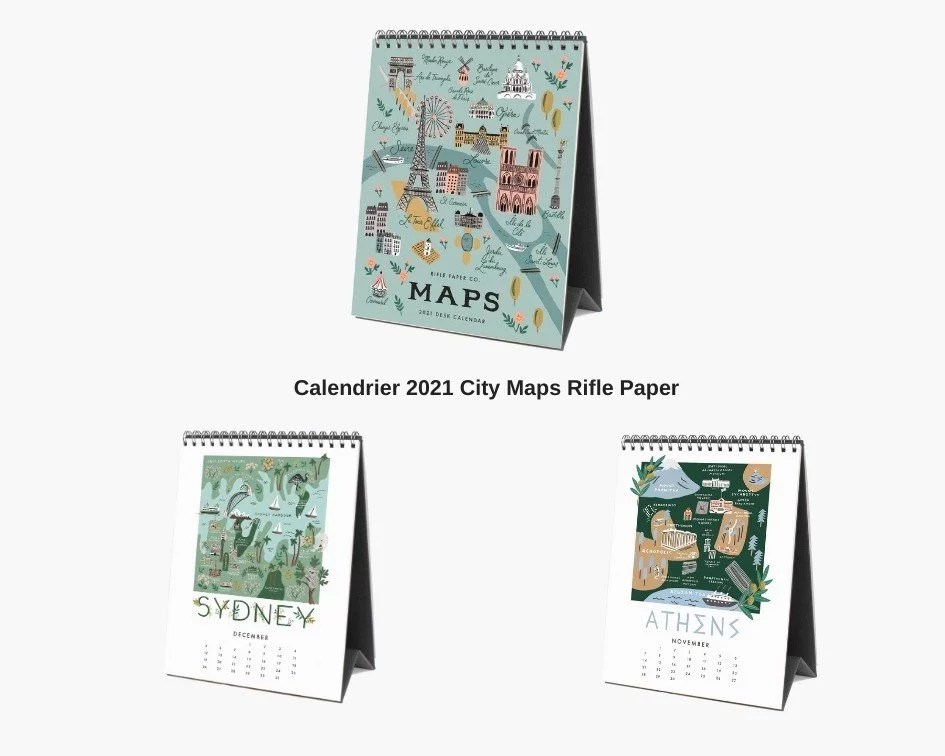 calendrier rifle paper city maps 2021