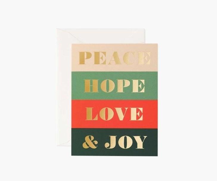 Carte de voeux Peace and Joy Rifle Paper gcx060