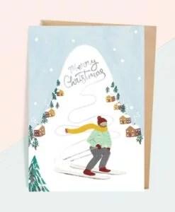 Carte de voeux de Noël Skieur Jade Fisher