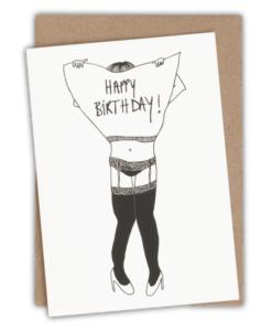 Carte anniversaire Porte-jarretelles Helen B