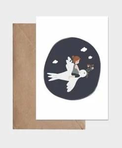 Carte L'enfant et l'hirondelle Atelier Oranger