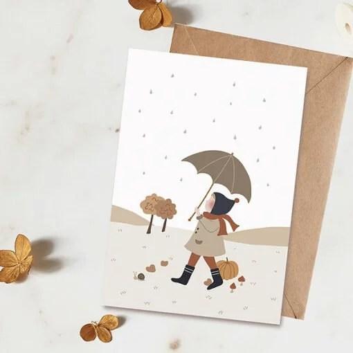 Carte enfant Sous mon parapluie Atelier Oranger