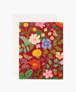 Carte florale Strawberry Fields Rifle Paper – Rouge