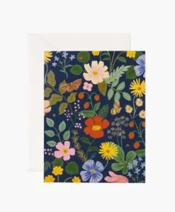 Carte florale Strawberry Fields Rifle Paper – Navy