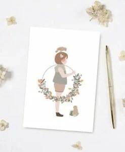 Carte La petite fille à la couronne Atelier Oranger