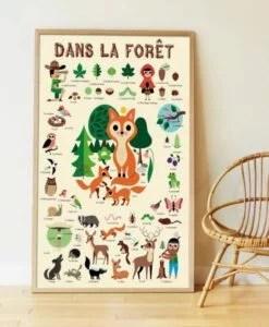 Poster géant + 44 stickers – Dans la forêt (3-8 ans)